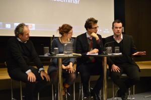 Her debatter Lave K. Broch EU og freden på en konference i Oslo bl.a. sammen med formanden for den norske Europabevægelse Jan Erik Grindheim (helt til venstre), november 2014.