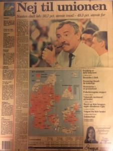 Et flertal af danskerne stemte nej til Maastricht-traktaten i 1992. Billet er fra en del af Politikens forside den 3. juni 1992.